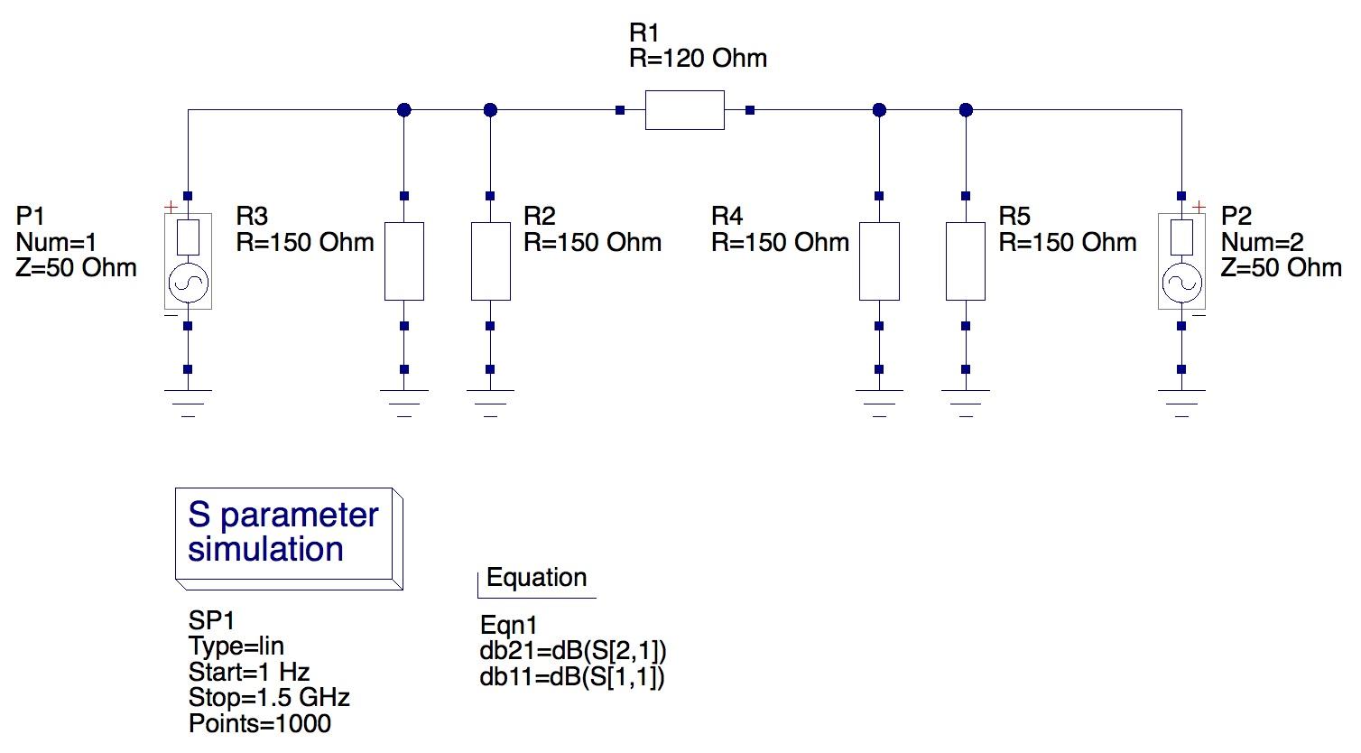 Simple 14dB attenuator model